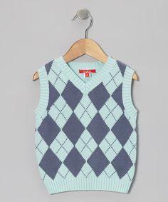 Aqua Argyle Sweater Vest - Toddler
