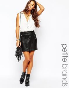 New+Look+Petite+Leather+Look+Skirt