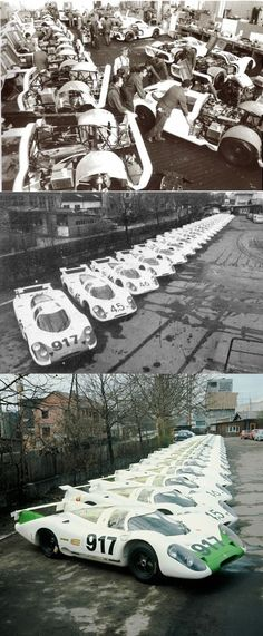 """PORSCHE 917 LH (Langheck or """"Long Tail"""")  In 1969, Porsche and their head of motorsports, Ferdinand Piëch, designed and built 25 cars to meet FIA's (Fédération Internationale de l'Automobile) Group 4 rules.  These are 25 917s parked in front of the Porsche factory for FIA inspectors."""