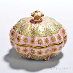 Jeweled Coalport Porcelain Scalloped Box and Cover | Sale Number 2875B, Lot Number 318 | Skinner Auctioneers