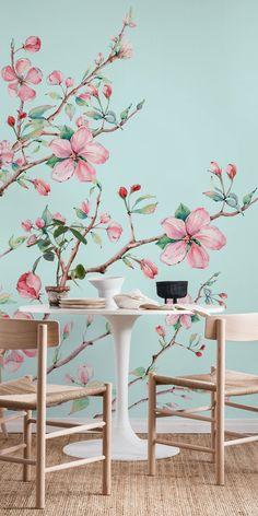 Apple Blossom Mint Wallpaper Apple Blossom Mint wall mural from happywall Mint Wallpaper, Tree Wallpaper, Blue Wallpapers, Watercolor Wallpaper, Flower Wallpaper, Tree Wall Murals, Mural Wall Art, Mint Walls, Garden Mural