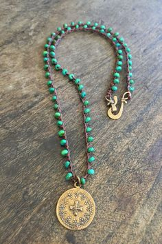 Crocheted Necklace Turquoise Knotted Rustic by TwoSilverSisters