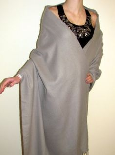 Our #winter #sale #cashmere #wraps #shawls at #YoursElegantly. This large full size medium grey cashmere #wool #shawl #wrap is soft, warm and luxurious. This cashmere wrap makes a affordable gift that will be treasured and also perfect for fall, winter spring.