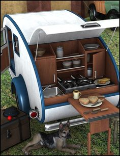 Teardrop Camper Teardrop Camper is a practical camping vehicle with retro style. The back of the trailer opens up to reveal a fully featured kitchenette with Teardrop Camper Trailer, Tiny Camper, Camper Van, Small Campers, Cool Campers, Rv Campers, Micro Campers, Small Trailer, Tiny Trailers