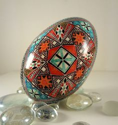 Bold Cross Pysanka, Pysanky Goose Egg Bright Colors Turquoise and Orange by GoldenEggPysanky