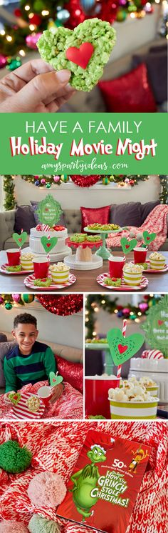 Have a Holiday Family Movie Night SImple party ideas for movie night at home from FREE Printables Grinch Movie Christmas Movie Night, Grinch Christmas Party, Grinch Party, Merry Christmas, Christmas Treats, Family Christmas, All Things Christmas, Christmas Holidays, Christmas Decor