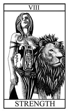 Bianco Nero Tarot: Major Arcana on Behance Leo Tarot, Strength Tarot, Tarot Card Tattoo, Jobs In Art, Tarot Major Arcana, Card Drawing, Tarot Readers, Oracle Cards, Tarot Decks
