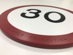 30 mph Corian chopping board made to celebrate our 30th anniversary. www.counterproduction.co.uk