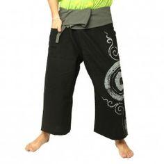 Pantalones pescador tailandés - con la impresión de caracol - negro Algodón