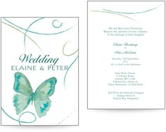 Green wedding invitation with a butterfly design