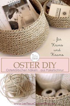Ostern DIY - Basteln mit Kindern: häkele ein Osternest mit Paketschnur. Supereasy Anleitung.