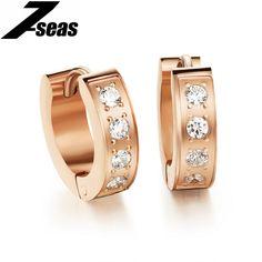 7SEAS Romantic Cubic Zirconia Women Hoop Earrings Luxury Rose Gold Color 316L Stainless Steel Woman's Jewelry brincos,JM289E