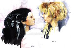 A classic movie in my opinion that shows off David Bowies family jewels lol. I loved this film and had to paint it. Labyrinth Tattoo, Sarah And Jareth, Family Jewels, David Bowie, Watercolor, Gallery, Asylum, Anime, Movie Posters