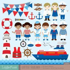 Little Sailor Digital Clipart, Nautical Clipart, Sailing Clipart Nautical Clipart, Nautical Theme, Nautical Bulletin Boards, Activities For Kids, Crafts For Kids, Envelope Box, Party Banners, Baby Shower, Card Tags