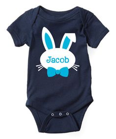 Another great find on #zulily! Navy Bow-Tie Bunny Personalized Bodysuit - Infant #zulilyfinds