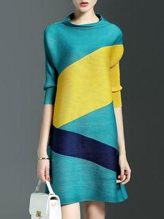 Green Half Sleeve A-line Color-block Mini Dress