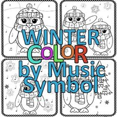 Winter Color by Music Symbol | Other Files | Patterns and Templates