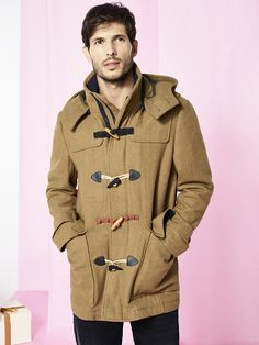 Parka-style coat in golden brown with a hood, pockets and a very nice soft feel.