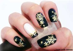 Black, White and Gold   Still lovin' your matte lacquer? Then, simply paint your nails in matte black. Then, using your slim brushes and sticks, paint snowflakes or any other Christmas symbol that you prefer on your nails. Use metallic silver and metallic gold to paint your symbols for that full holiday effect.