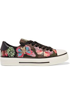 6a102dc4854b9 Valentino - Embroidered Appliquéd Canvas And Leather Sneakers - Green