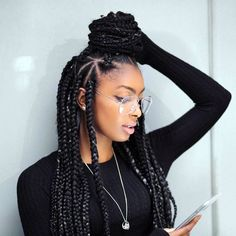 Nice 45 Breathtaking Hairstyles With Big Box Braids Being within sizing 1080 X 1080 Hairstyles With Big Braids - The braid hairstyle is a flattering, sexy Short Box Braids, Blonde Box Braids, Big Braids, Thick Box Braids, Dookie Braids, Thick Hair, Purple Box Braids, Braids Easy, Braids With Weave