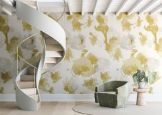 WALLPAPER : IN THE FLOWERS©️️️️️️️ // GOLD - drop it MODERN - Modern and contemporary interior designed wallpaper for the studio and home. | #wallpaper #InteriorDesign #HomeDecor #bedroom #bathroom #kitchen #LivingRoom #designer #luxury #traditional #FarmHouse #MidCenturyModern