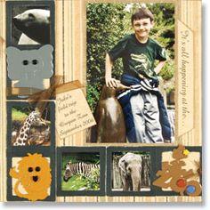 scrapbook ideas, scrapbooking layouts, zoo