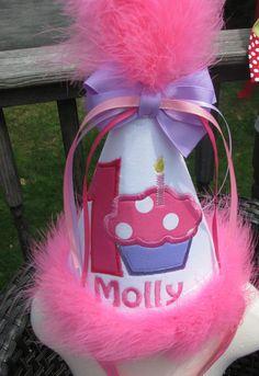 cupcake birthday hat by Paulajeanoriginals on Etsy, $19.99