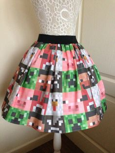 OMG!  THIS IS SO ME ;-) Minecraft inspired full skater style skirt by PicknMix on Etsy