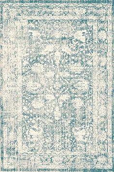 "A2Z Rug Polypropylene, Blue, 200x290cm - 6'7"" x9'6 ft Traditional Area Rugs, Santorini, Vintage Fashion, Floral, Pattern, Blue, Living Room, Home Decor, Style"