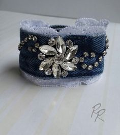 Denim Lace with Rhinestones Cuff Bracelet by RepurposedRelicsTX #CraftShout