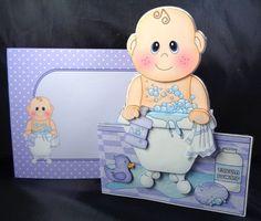 3D Shaped Card Kit - Bathtub Buddies - Cute Little Baby Boy Issac has a Bubble Bath - Photo by Linda Short