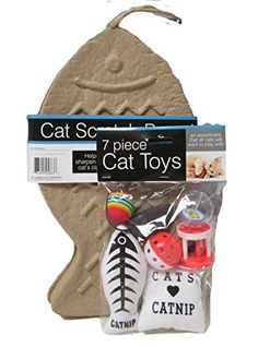 Bundle 2 Items 7 Piece Cat Toys with Catnip  Cat Scratch Board -- Continue to the product at the image link.
