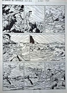 """Freddy Lombard Dessin: Chaland Yves Scénario: Le Pennetier Yann Tome 3 """"La Comète de Carthage"""" 1985 Planche 20bis 36/47 cm"""