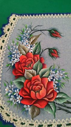 Gouache Painting, Tole Painting, Fabric Painting, Diy Painting, Bed Sheet Painting Design, Rose Sketch, Fabric Paint Designs, Beautiful Flowers Wallpapers, Flower Tattoo Designs