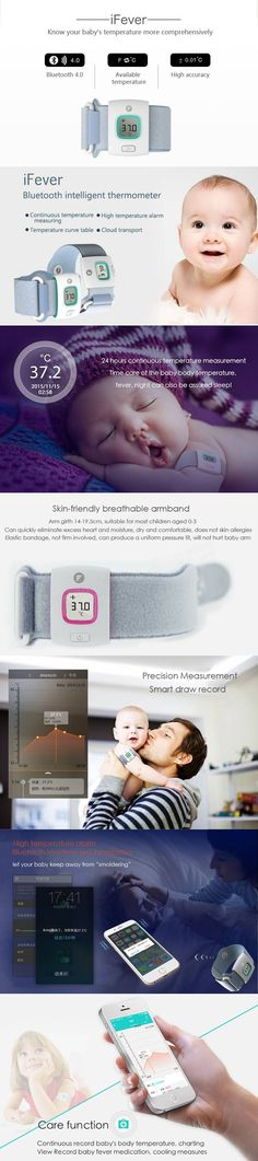 Fii iFever Bluetooth Intelligent Thermometer Baby Wearable Infrared Smart…