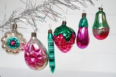 Christmas tree ornament Fuchsia Green Christmas decor Set of 6 glass ornaments Soviet Christmas New Year décor Vintage ornaments #37 by Retronom on Etsy
