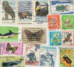 Birds Animals postage stamps scrapbooking by gracealleytreasures, $1.95