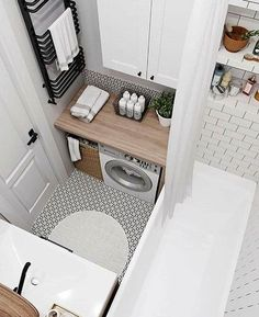 60 stunning small bathroom makeover ideas 8 ~ Design And Decoration Laundry In Bathroom, Bathroom Interior Design, Trendy Bathroom Designs, Bathroom Makeover, Tiny House Bathroom, Small Space Bathroom, Room Tiles, Amazing Bathrooms, Small Bathroom Ideas On A Budget
