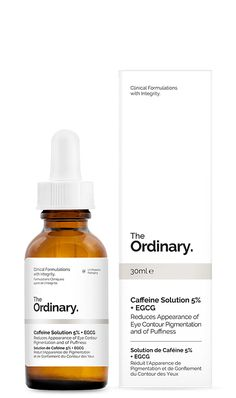 Caffeine Solution 5% + EGCG / On freshly cleaned skin, swipe onto under-eye hollows. Pat in with ring finger. You'll feel your eyes tighten throughout the day.