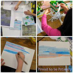 Monet's Waterlilies - Famous Artist lesson in first grade on Proud to be Primary #kidart #proudtobeprimary #primaryart