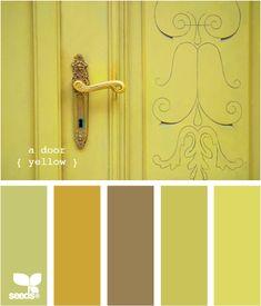a door yellow - color palette Design Seeds, Paint Schemes, Colour Schemes, Color Combos, Yellow Doors, Colour Pallette, Shades Of Yellow, Copics, Color Stories