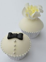 Lovely bride and groom cupcakes