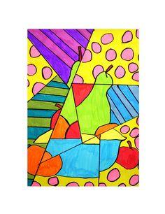 cubism project Picasso Cubism, Cubism Art, 5th Grade Art, Fruit Art, Pastel Art, Art Plastique, Elementary Art, Teaching Art, Art Lessons