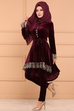 KOMBİN Gold Varaklı 3 Lü Kombin 00452-B329 Bordo Indian Fashion Dresses, Abaya Fashion, Muslim Fashion, Pakistani Dresses, Fashion Outfits, Hijab Fashionista, Designer Party Wear Dresses, Evening Dresses Plus Size, Green Midi Dress