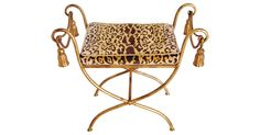 """Vintage Italian gold gilt tasseled bench newly upholstered in luxurious Scalamandré Leopardo (leopard) gold, black, and ivory silk cut-velvet fabric imported from Italy. Seat, 19""""H.   Minor scuffs..."""