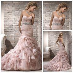 Pink Sweetheart Wedding Dress Free DHL/Fedex Shipping Organza and Tulle Fabrics Chapel Train  Love the train.  #weddingdress #weddinggown