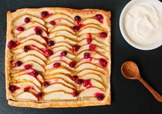 Cranberry-Pear Tart  Great for a holiday dessert, served slightly warm and topped with creme fraiche or vanilla ice cream; sprinkle tart with a dash of freshly grated nutmeg before baking.    Read More http://www.bonappetit.com/