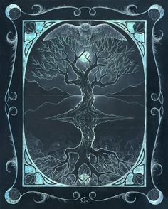 Winter (As Above, So Below) - tree of life - four seasons art - art print of oil pastel etching Tree Of Life Art, Tree Art, Four Seasons Art, Blackboard Drawing, 4 Wallpaper, Celtic Tree, Book Of Shadows, Constellation, Unique Art