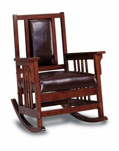 Coaster Mission Style Rocking Wood and Leather Chair Rocker by Coaster Home Furnishings